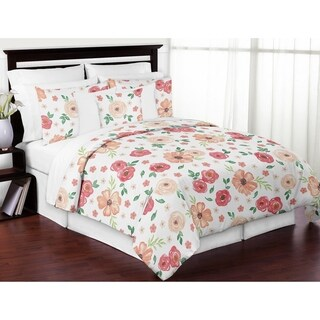 Sweet Jojo Designs Peach and Green Shabby Chic Watercolor Floral Collection Girl 3-piece Full / Queen-size Comforter Set