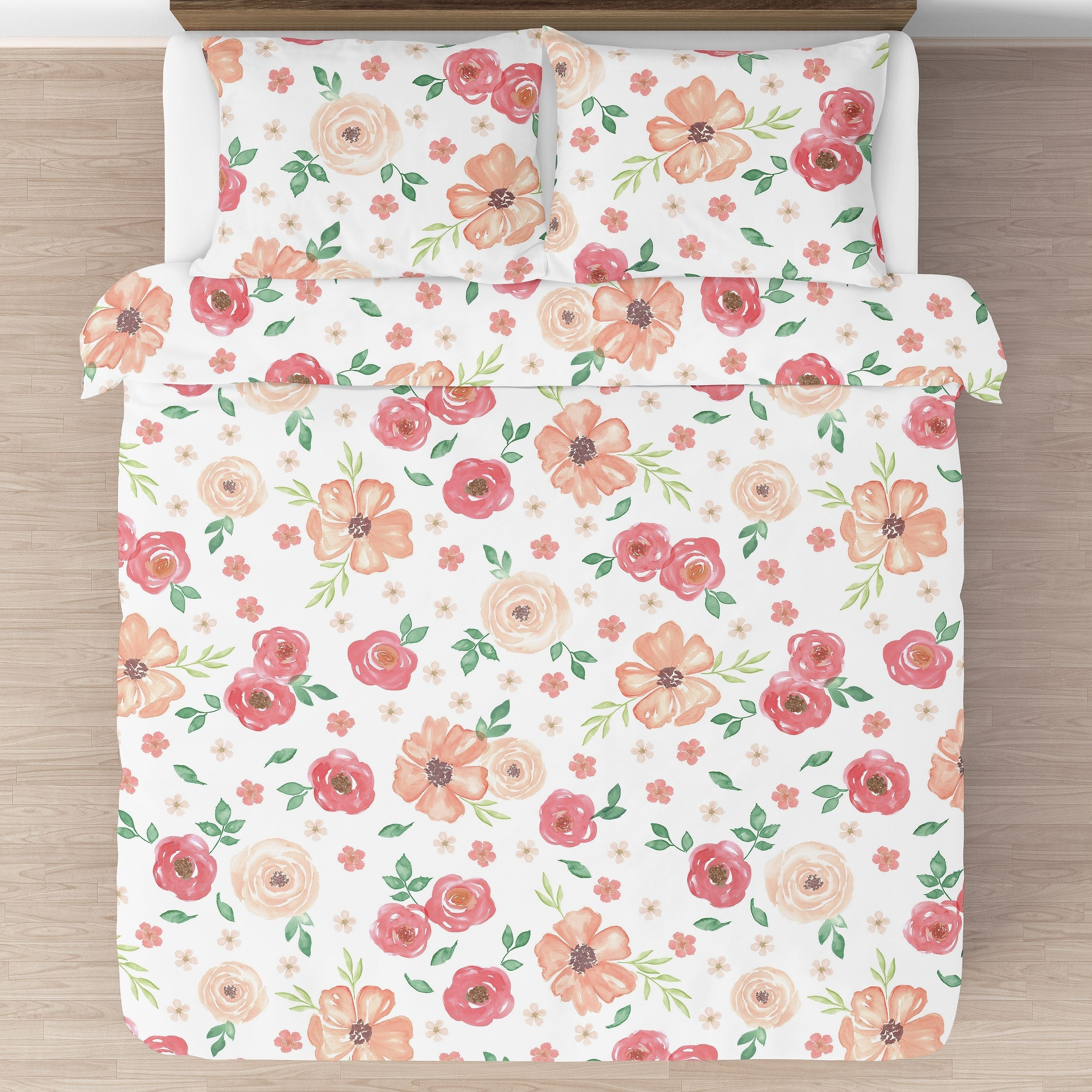 Shop Sweet Jojo Designs Peach And Green Shabby Chic Watercolor Floral Collection Girl 3 Piece Full Queen Size Comforter Set Overstock 22376063