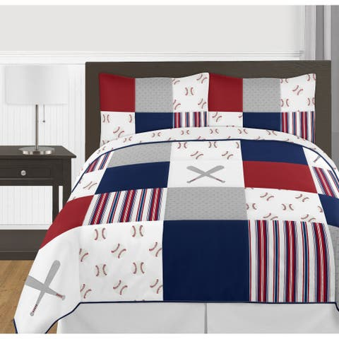 Sweet Jojo Designs Red, White and Blue Baseball Patch Sports Collection Boy 3-piece Full / Queen-size Comforter Set