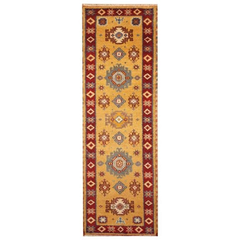 Handmade One-of-a-Kind Kazak Wool Runner (India) - 2'2 x 6'7