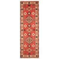 Herat Oriental Indo Hand-knotted Tribal Kazak Wool Runner (2'3 x 6'8)