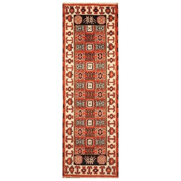 Handmade Kazak Wool Runner (India) - 2'2 x 6'9