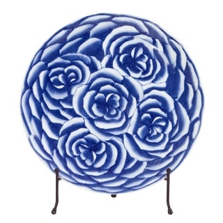 Allan Andrews Blue and White Abstract Rose Ceramic Charger with Stand