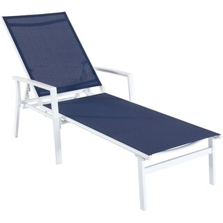 Cambridge Nova Navy Blue Sling White Aluminum Frame Adjustable Chaise
