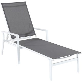 Cambridge Nova Adjustable Sling Chaise in Gray Sling and White Frame