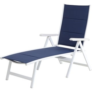 Mod Furniture Everson Navy/White Fabric/Aluminum Padded Sling Folding Chaise Lounge Chair