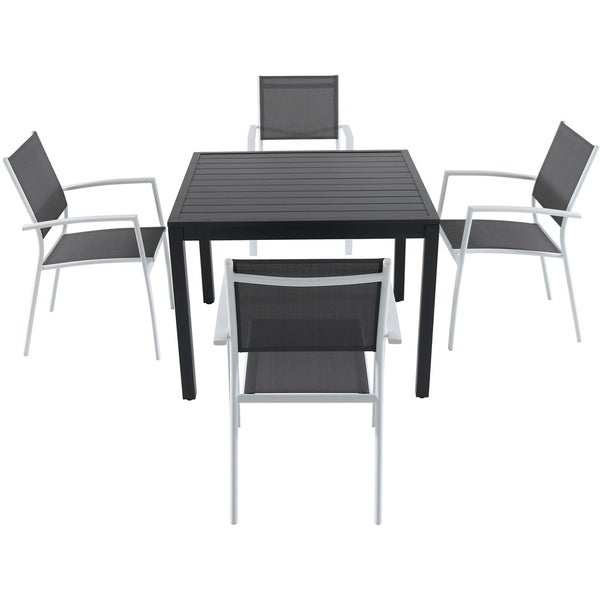 Cambridge Nova 5 Piece Grey Aluminum Outdoor Dining Set With 4 Sling Arm Chairs And