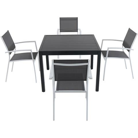 Cambridge Nova 5-piece Grey Aluminum Outdoor Dining Set with 4 Sling Arm Chairs and a 38-inch Square Dining Table