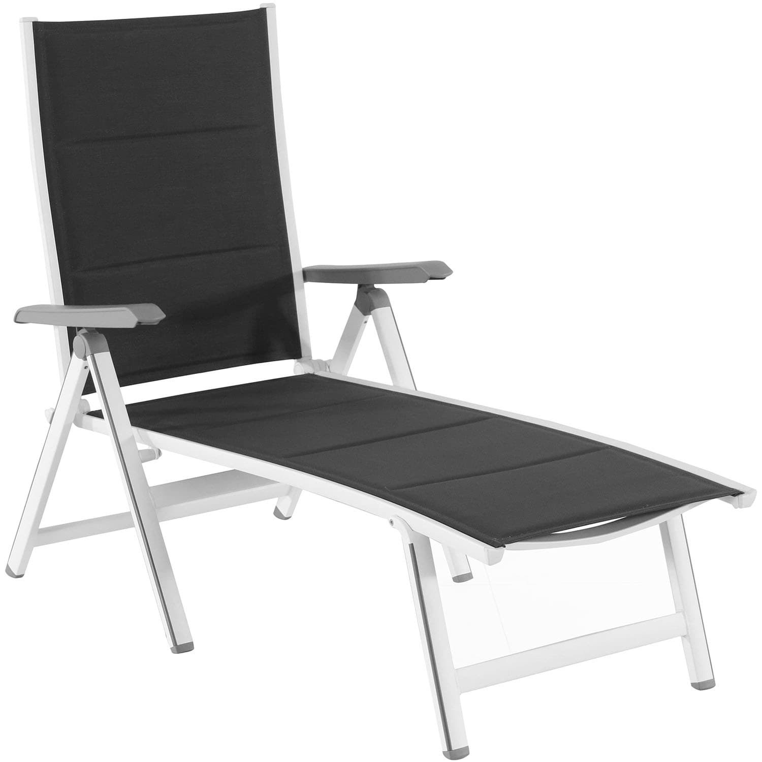 Hanover Regis Grey Aluminum Padded Sling Outdoor Chaise Lounge