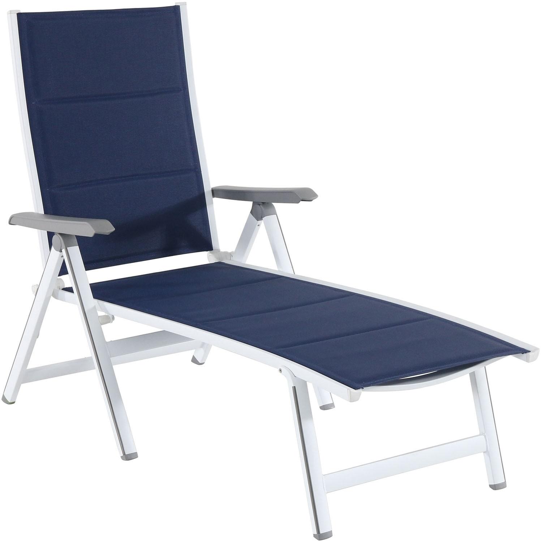 - Shop Hanover Regis White/Navy Aluminum Padded Sling Chaise Lounge