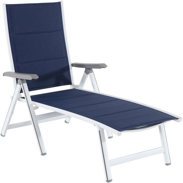 Brilliant Shop Hanover Regis White Navy Aluminum Padded Sling Chaise Inzonedesignstudio Interior Chair Design Inzonedesignstudiocom