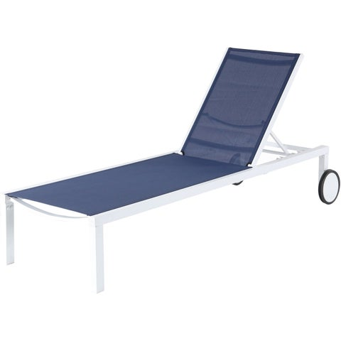 Mod Furniture Peyton White/Navy Aluminum Sling Armless Chaise Lounge Chair