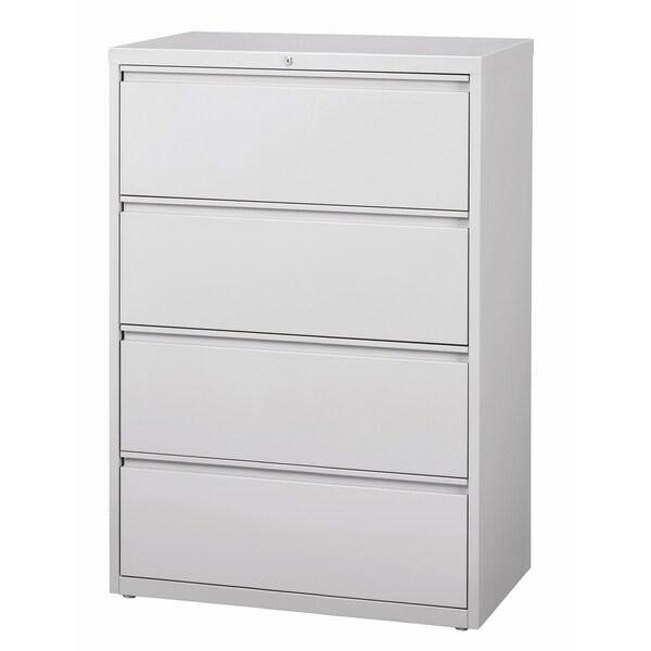 Hirsh 8000 Series Light Grey Metal 4 Drawer Lateral File Cabinet