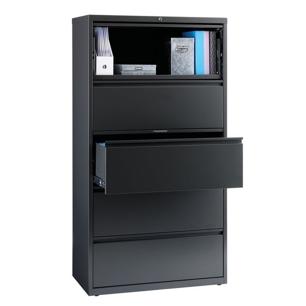 "8000 Series 36"" Wide 5-Drawer Lateral File Cabinet, Charcoal"