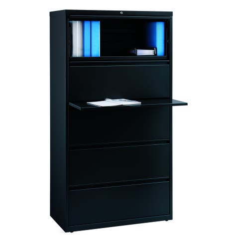 "8000 Series 36"" Wide 5-Drawer Lateral File Cabinet, Black"