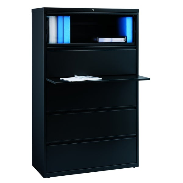 Hirsh 8000 Series 42 Inch 5 Drawer Black Metal Lateral File Cabinet
