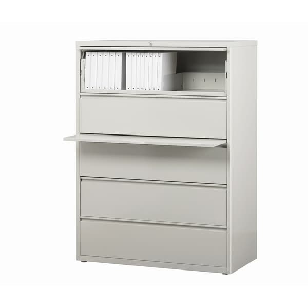 Exceptional Hirsh 8000 Series Light Grey Metal 5 Drawer Lateral File Cabinet