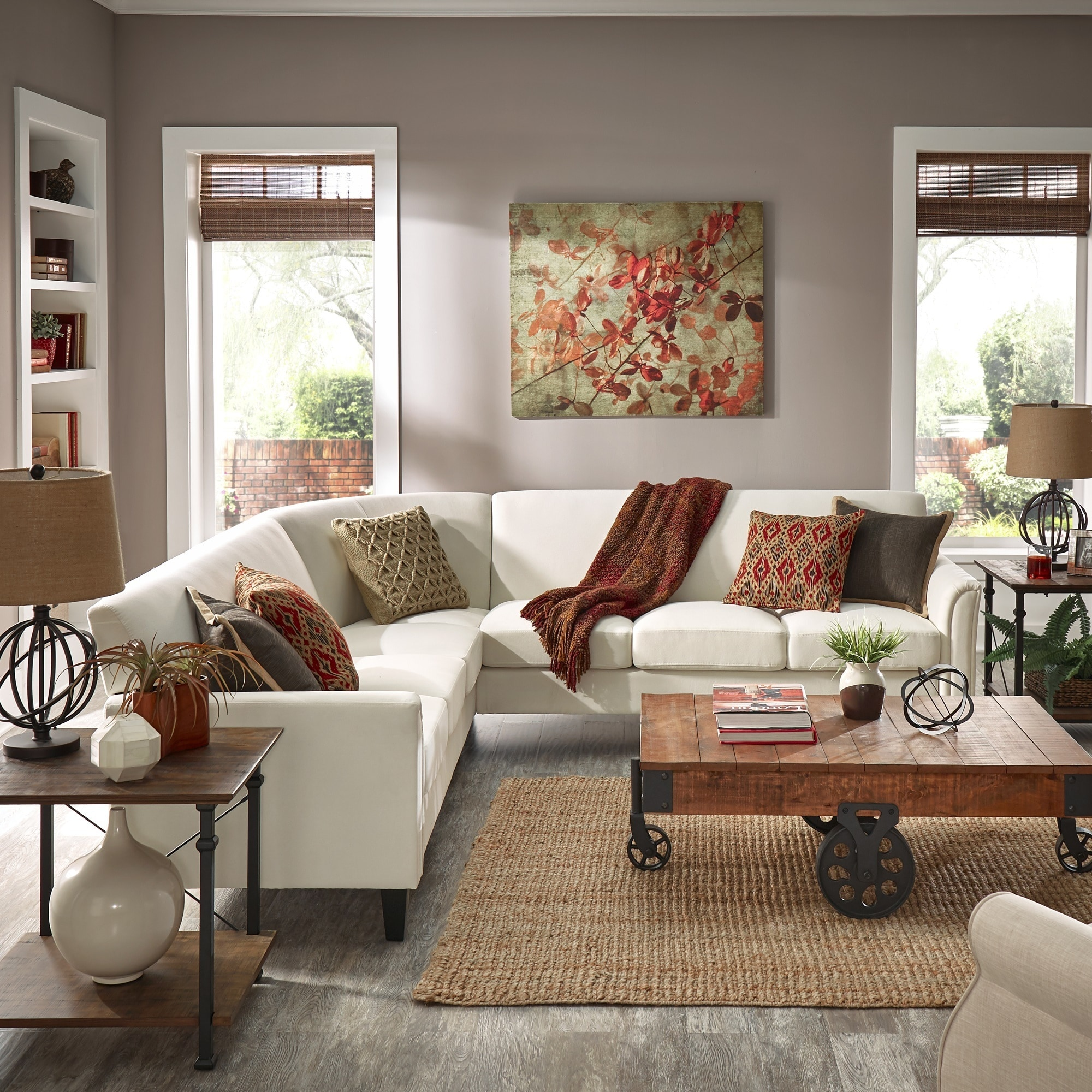 Uptown Modern Ivory White Upholstered L-Shaped Sectional by iNSPIRE Q Classic (7-Seat Sectional)