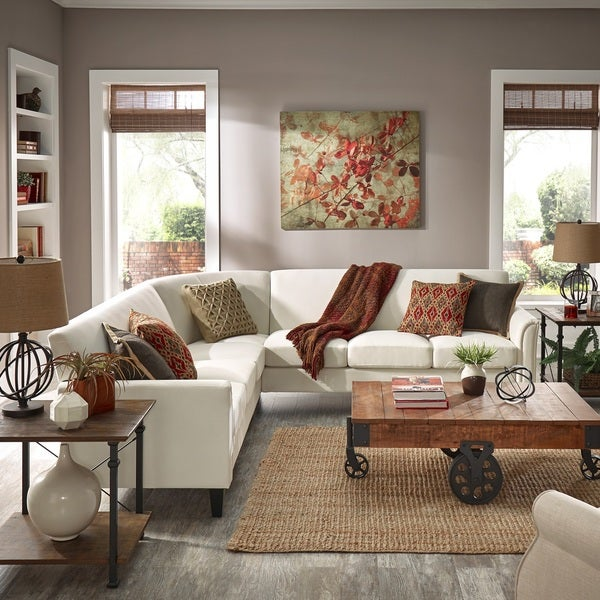 Uptown Modern Ivory White Upholstered L-Shaped Sectional by iNSPIRE Q Classic