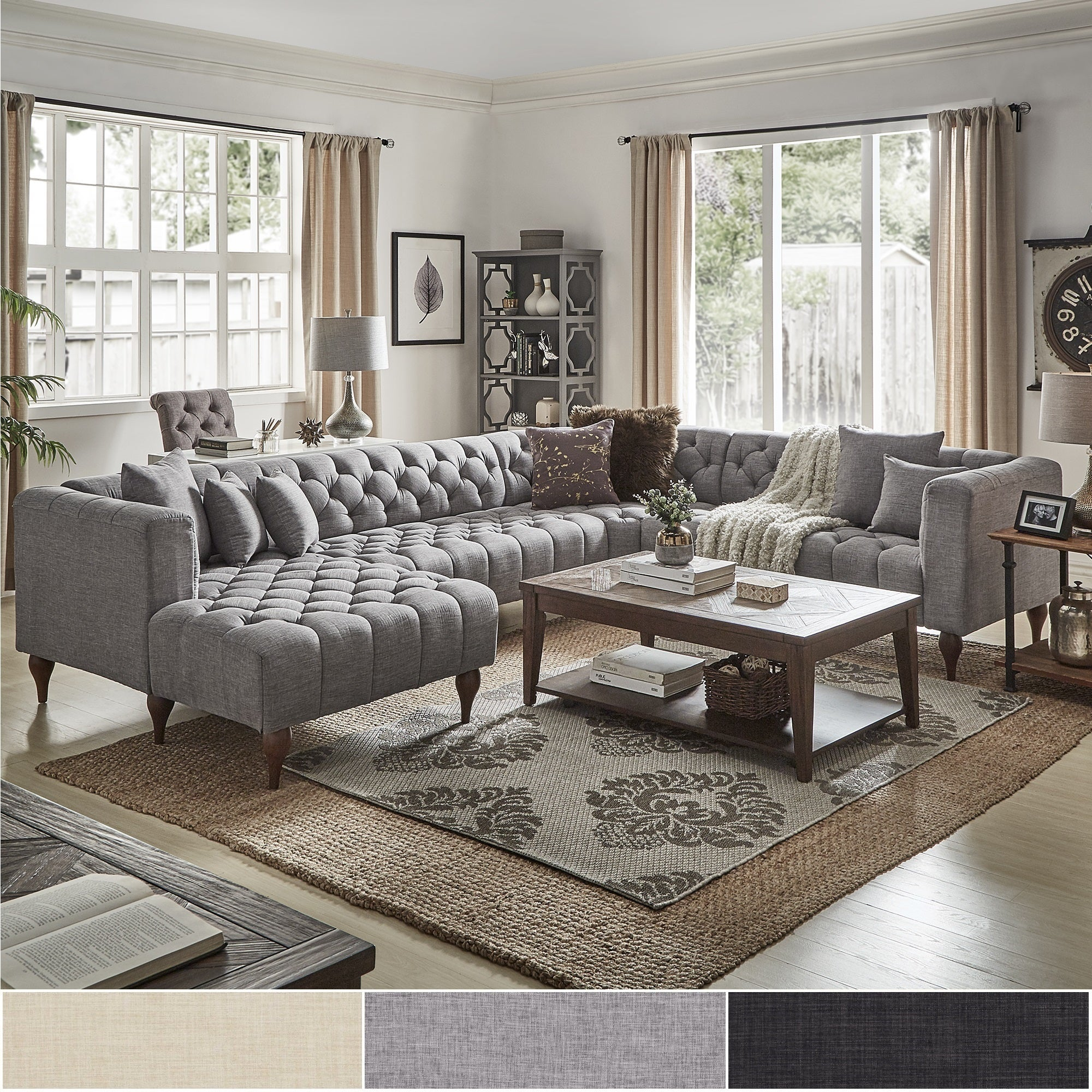 Danise Tufted Linen Upholstered Tuxedo Arm U-Shaped Sectional with Chaise by iNSPIRE Q Artisan (Grey Linen - Right Facing)