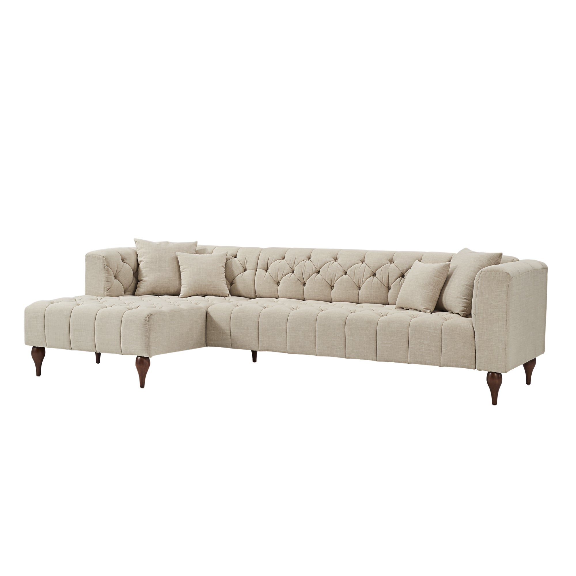Danise Tufted Linen Upholstered Tuxedo Arm 4 Seat Sofa And Chaise By Inspire Q Artisan Overstock 22376314