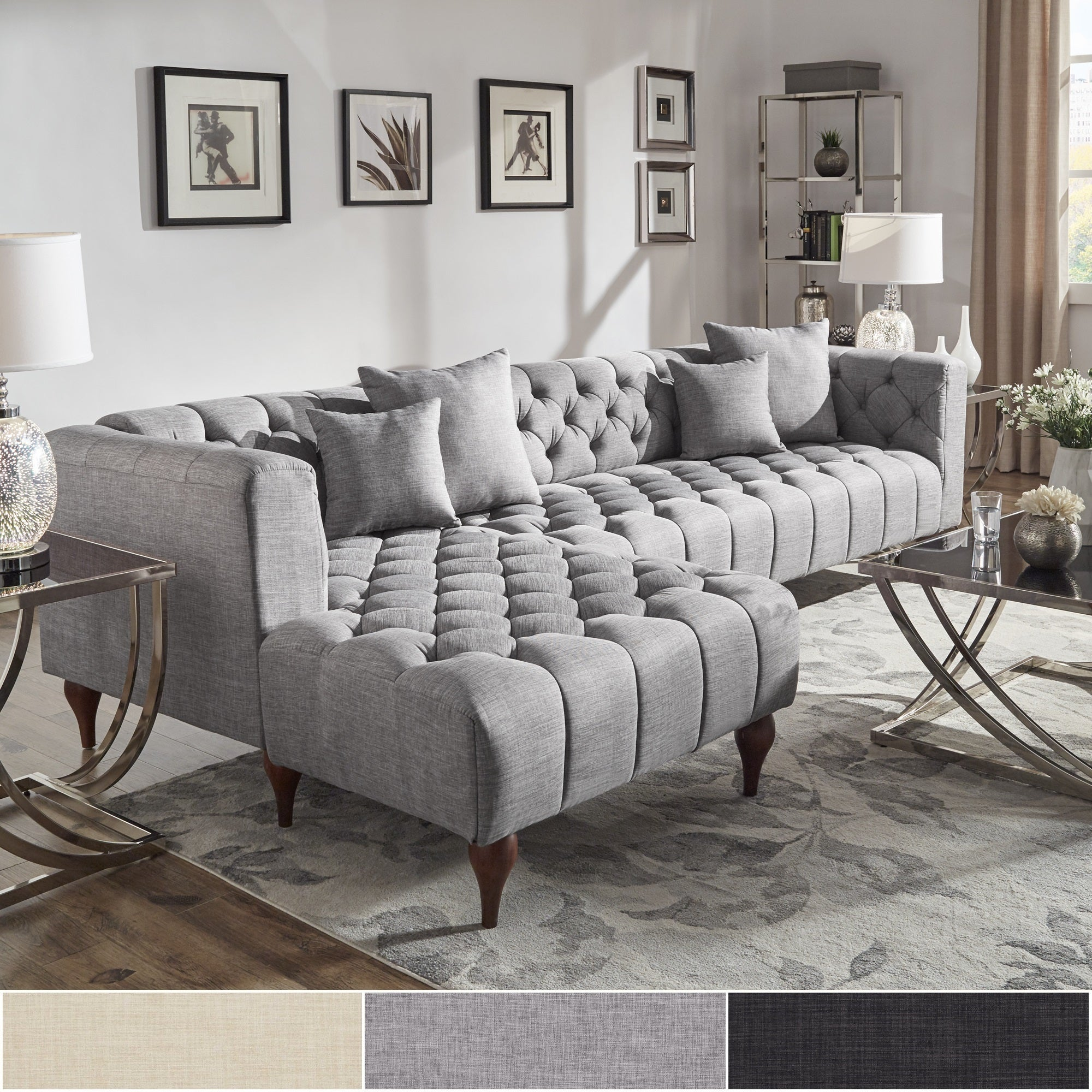 Danise Tufted Linen Upholstered Tuxedo Arm 4-Seat Sofa and Chaise by iNSPIRE Q Artisan (Right Facing - Grey Linen)