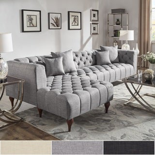 Danise Tufted Linen Upholstered Tuxedo Arm 4-Seat Sofa and Chaise by iNSPIRE Q Artisan