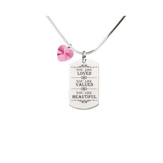 Pink Box Inspirational Tag Necklace with Crystal from Swarovski - You Are Loved