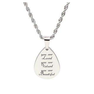 Teardrop inspirational Tag Necklace - YOU ARE LOVED