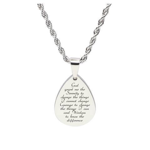 Teardrop inspirational Tag Necklace - SERENITY PRAYER