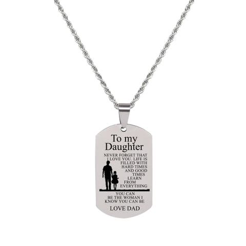 Sentiment Tag Necklace - TO DAUGHTER FROM DAD