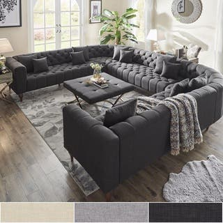 Danise Tufted Linen Upholstered Tuxedo Arm U Shaped Sectional By Inspire Q