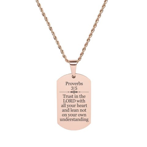 Proverbs 3:5 Tag Necklace