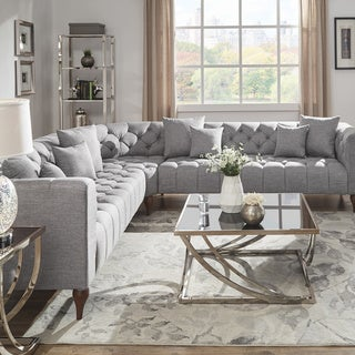 Danise Tufted Linen Upholstered Tuxedo Arm L-Shaped Sectional by iNSPIRE Q Artisan (7 - Seater - Grey Linen)