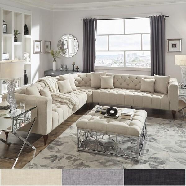 Shop Danise Tufted Linen Upholstered Tuxedo Arm L Shaped