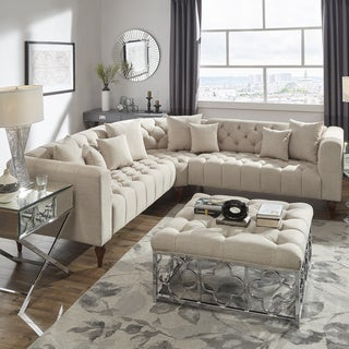 Danise Tufted Linen Upholstered Tuxedo Arm L-Shaped Sectional by iNSPIRE Q Artisan (5 - Seater - Beige Linen)