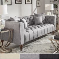 Danise Tufted Linen Upholstered Tuxedo Arm Sofa by iNSPIRE Q Artisan