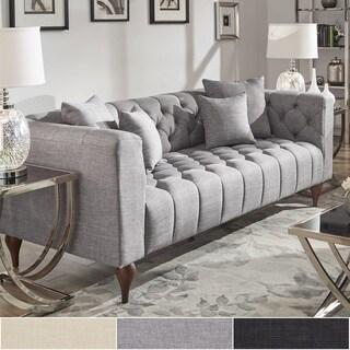 Danise Tufted Linen Upholstered Tuxedo Arm Sofa by iNSPIRE Q Artisan