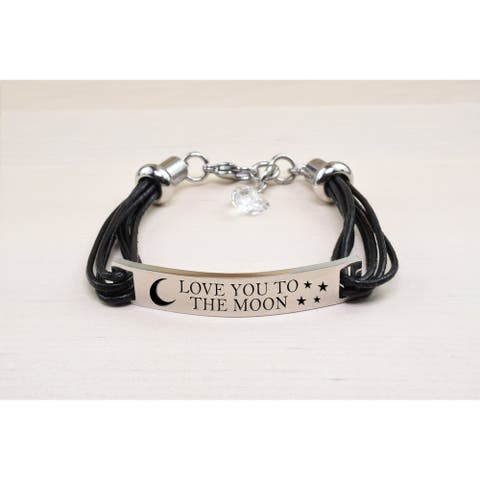 Genuine Leather ID Bracelet with Crystals from Swarovski - LOVE YOU TO THE MOON