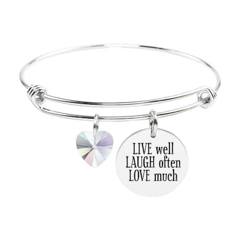 Adjustable Bangle with Crystals from Swarovski - LIVE LAUGH LOVE