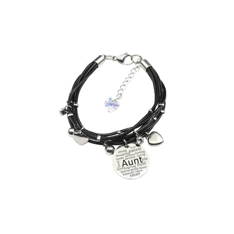 Genuine Leather Bracelet made with Crystals from Swarovski - Aunt