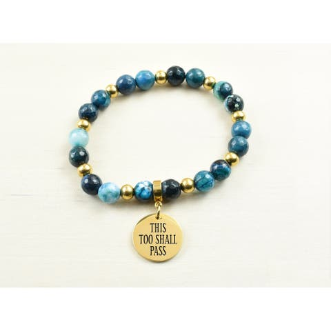 Genuine Agate Inspirational Bracelet - Navy - This too shall pass