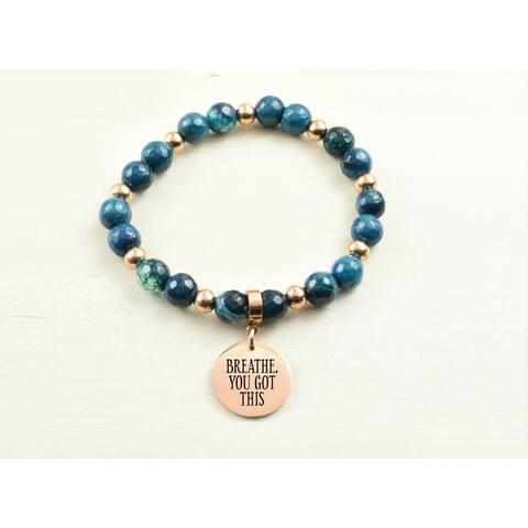 Genuine Agate Inspirational Bracelet - Navy - Breathe you got this