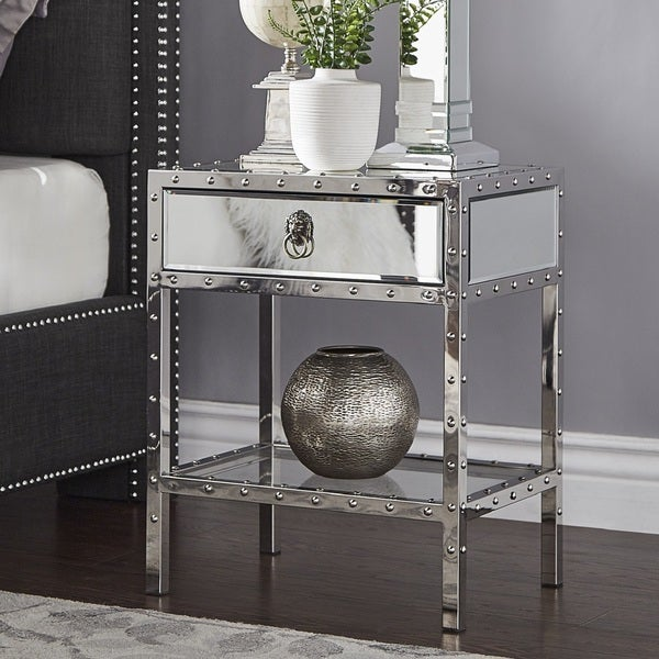 Carter Riveted Stainless-Steel Mirrored Accent Table by iNSPIRE Q Bold. Opens flyout.