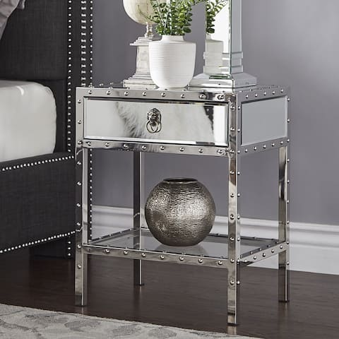 Carter Riveted Stainless-Steel Mirrored Accent Table by iNSPIRE Q Bold