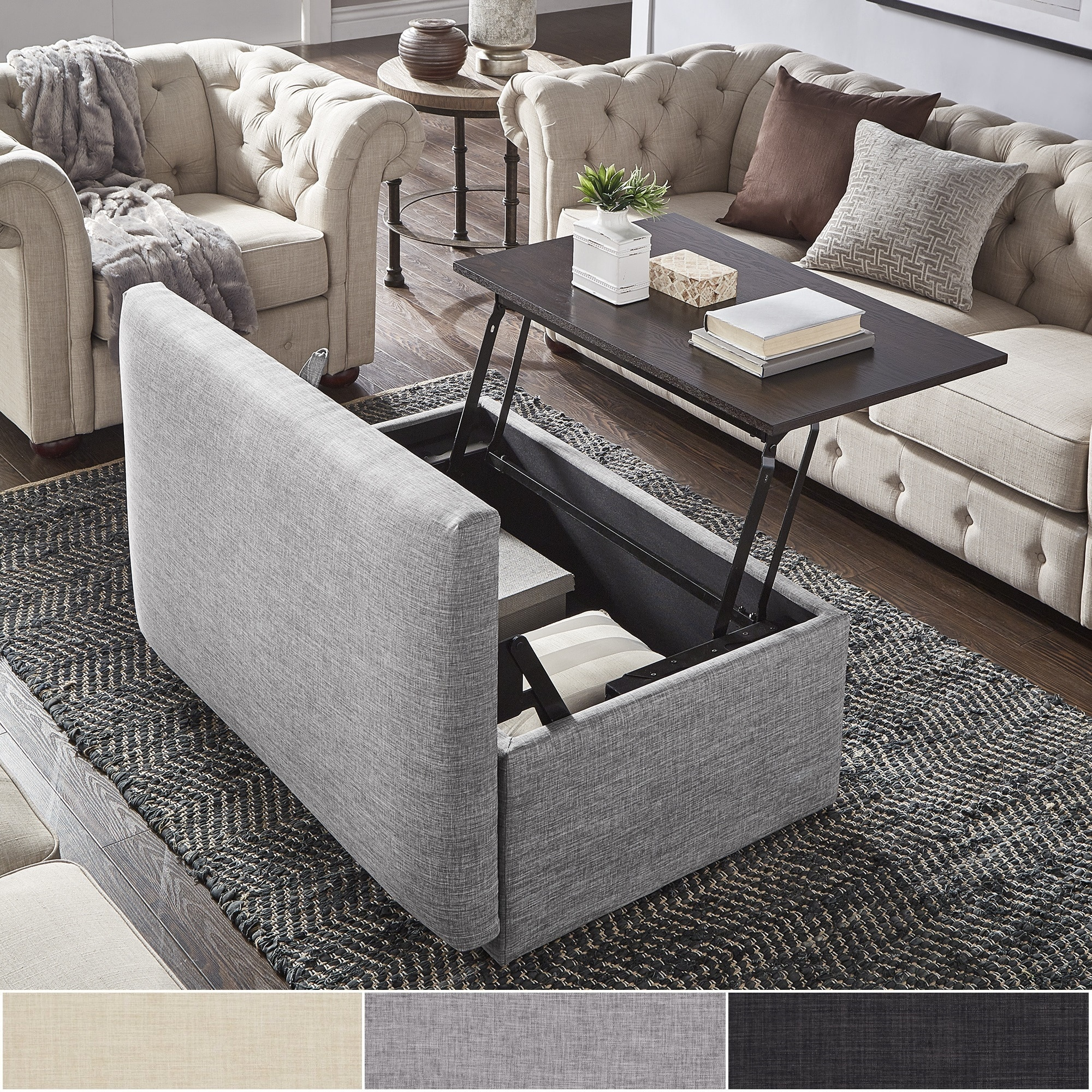 Landen Lift Top Upholstered Storage Ottoman Coffee Table By Inspire Q Artisan Overstock 22377961