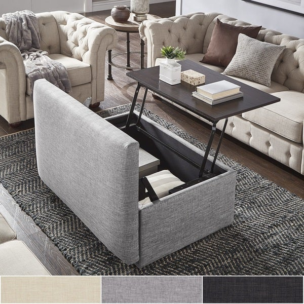 Coffee Table Footrest Storage: Shop Landen Lift Top Upholstered Storage Ottoman Coffee