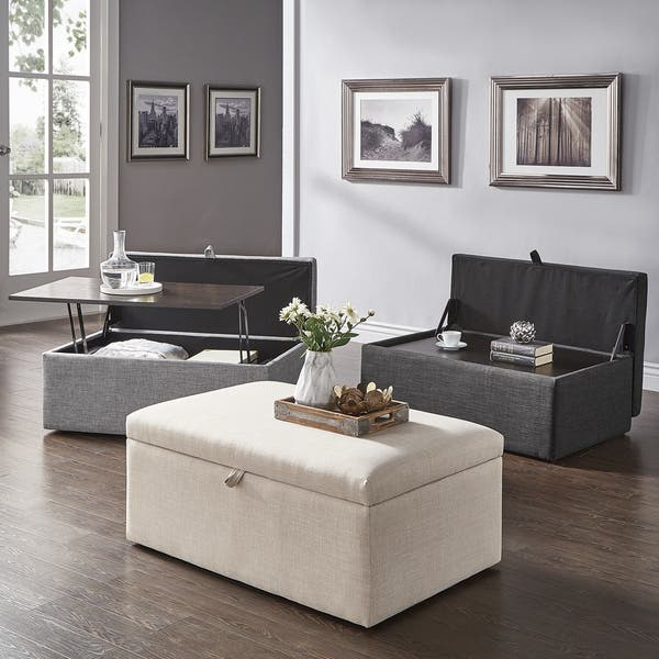 Landen Lift Top Upholstered Storage Ottoman Coffee