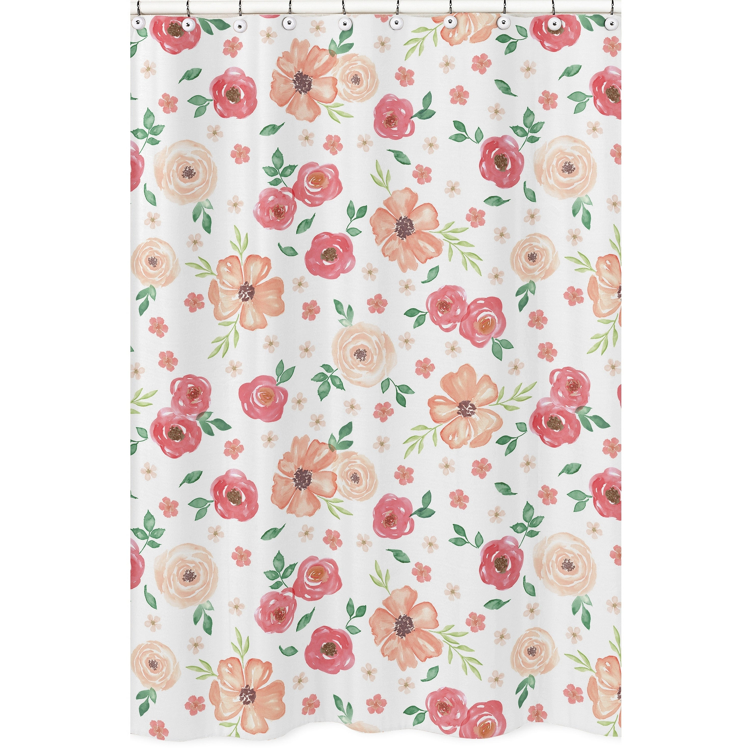 Shop Black Friday Deals On Sweet Jojo Designs Peach And Green Watercolor Floral Collection Bathroom Fabric Bath Shower Curtain Overstock 22378052
