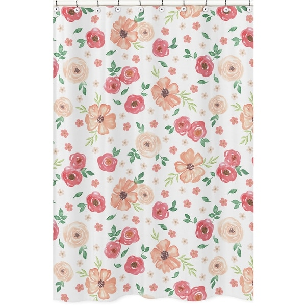 Sweet Jojo Designs Peach And Green Watercolor Floral Collection Bathroom Fabric Bath Shower Curtain